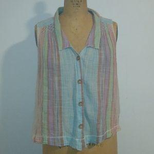 Unicorn colored sleeveless blouse